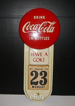 VINTAGE 1959 ORIGINAL COCA-COLA COKE BUTTON CALENDAR SIGN WithPAD