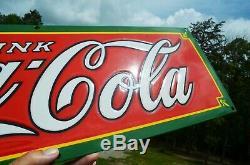 VINTAGE 20's COCA COLA SODA PORCELAIN TRADEMARK IN TAIL SIGN