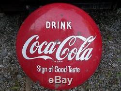 VINTAGE 24 COCA COLA BUTTON SIGN 1950s Porcelain Coke Sign of good taste