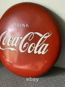VINTAGE 24 INCH COKE Coca Cola BUTTON SIGN