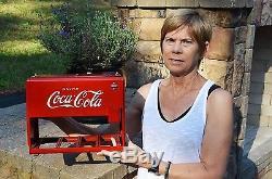 VINTAGE 30s COCA COLA SODA DRINK SALESMAN COOLER SIGN with CASE ORIGINAL PRISTINE