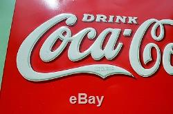 VINTAGE 37' COCA COLA SODA DRINK EMBOSSED SIGN with XMAS DEC 1923 BOTTLE SUPER