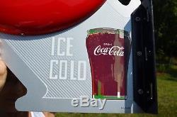 VINTAGE 40s COCA COLA DOUBLE BUTTON FLANGE SIGN IMPOSSIBLE TO FIND DEAD MINT
