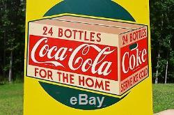 VINTAGE 40s COCA COLA SODA DRINK $1.44 TAKE HOME A CASE 24 BOTTLE SIGN SCARCE