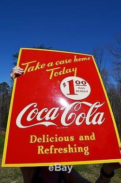VINTAGE 40s COCA COLA SODA DRINK SIDEWALK 2 SIDED SIGN SUPER RARE COLLECTABLE