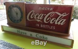 VINTAGE 50's COCA COLA COKE LIGHT UP CLOCK SIGN SODA SHOP DINER VERY NICE WORKS