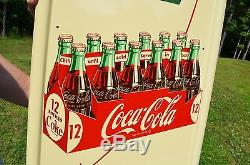 VINTAGE 50's COCA COLA SODA PICK UP 12 PILASTER SIGN 16 BUTTON MINT COND NOS