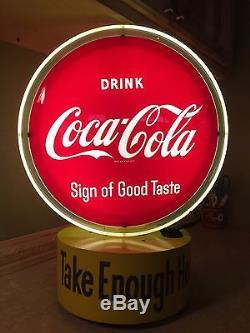 VINTAGE 50s COCA COLA REVOLVING LIGHT UP DISPLAY SIGN OF GOOD TASTE UNFINDABLE