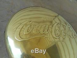 VINTAGE COCA COLA 16 BRASS BUTTON SIGN EXCELLENT