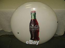 VINTAGE COCA COLA 36 WHITE PORCELAIN BUTTON 1950's COKE WALL SIGN RETRO CLEAN