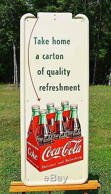 VINTAGE COCA COLA 6 PACK with ARROW DRINK PILASTER SIGN DEAD MINT INVESTMENT PIECE