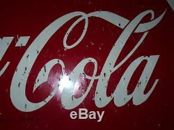 VINTAGE COCA-COLA COKE SIGN Fish Tail SIGN STORE SIGN LARGE OLD SIGN 1950s f