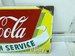 VINTAGE COCA COLA FOUNTAIN SERVICE PORCELAIN 1950'S 12x28