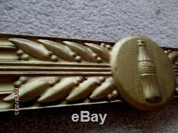 VINTAGE COCA-COLA GOLD METAL BOTTLE KAY SIGN-WOODEN FRAME-35 X 19-HAYES MFG CO