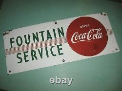 VINTAGE COCA-COLA PORCELAIN SIGN-FOUNTAIN SERVICE-1950's NICE ORIGINAL