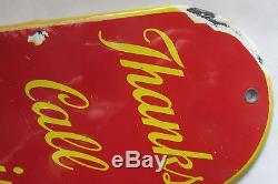 Vintage Door Push Sign Coca Cola Porcelain Thanks Call Again For A Coca Cola