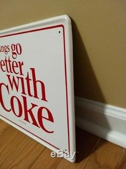 VINTAGE NOS 1960's COCA COLA THINGS GO BETTER WITH COKE BUTTON SODA METAL SIGN