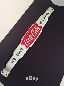 VINTAGE ORIGINAL PORCELAIN FISHTAIL COCA COLA COKE Metal Door Push Pull Bar Sign