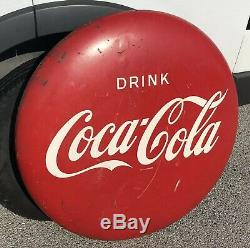 VINTAGE Original 36 Metal Coca Cola Button Coke Sign Soda Pop Advertising @NICE