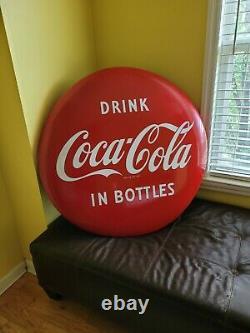 VINTAGE PORCELAIN Drink Coca-cola In Bottles COKE BUTTON 36 Sign Mint Condition