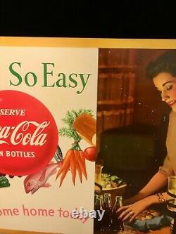 VINTAGE SERVE COCA COLA SO EASY CARDBOARD SIGN 20 x 36 HORIZONTAL 1950's