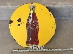 VINTAGE YELLOW COKE COCA COLA BOTTLE STORE GAS STATION PORCELAIN SIGN BUTTON