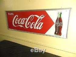 VTGBRILLIANT 1957 COCA COLA BOTTLE DRINK COCA COLA EMBOSSED FRAME SIGN