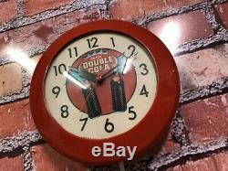 VTG INGRAHAM 60's DOUBLE COLA SODA STORE ADVERTISING-DINER WALL CLOCK SIGN COKE