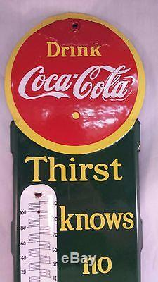 Very Rare Vintage Porcelain Coke Thermometer 394-t