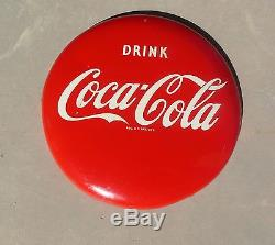 Vintage 16 Inch Tin Coca Cola Button Sign in Amazing Condition Drink Coke