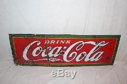 Vintage 1927 Drink Coca Cola Soda Pop Gas Station 30 Porcelain Metal Sign