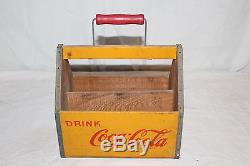 Vintage 1930's Coca Cola Soda Pop Wood Bottle 6 Pack Carrier Sign