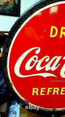 Vintage 1930's Original Coca Cola Lollipop DS Porcelain Sign w Original Base