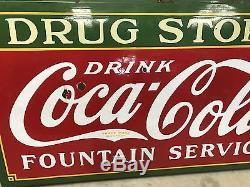 Vintage 1930's Porcelain Coca-Cola Drug Store/Fountain Service Sign Americana