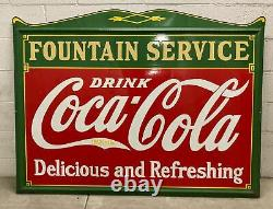 Vintage 1930s Coca-Cola Fountain Service Drink Metal Porcelain Collectible Sign