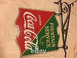 Vintage 1933 Coca Cola Double Sided Porcelain Sign