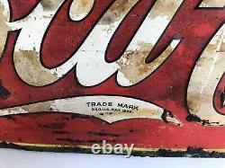 Vintage 1934 Drink Coca Cola Soda Pop Embossed Metal Advertising Sign