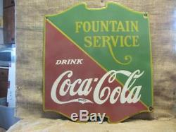 Vintage 1934 Porcelain Coca-Cola Fountain Sign Antique Coke Soda RARE 9871