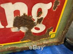 Vintage 1935 Coca-Cola Luncheonette Porcelain Sign GAS OIL SODA 60 x 46