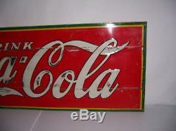 Vintage 1935 Drink Coca Cola Soda Pop Embossed Metal Advertising Sign