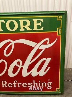 Vintage 1935 Metal Porcelain Coca-Cola Drug Store Advertising Collectible Sign