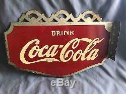 Vintage 1936 Drink Coca-Cola 2 Sided Flange Advertising Soda Sign