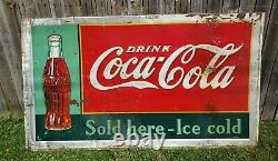 Vintage 1937 American Artworks Inc. Coca Cola 11-36 Sign 57×36½ inches Ohio USA