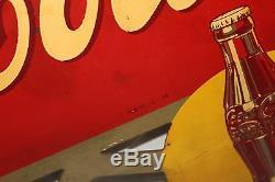 Vintage 1938 Coca Cola Soda Pop Gas Station 2 Sided 24 Metal Flange Sign