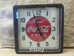 Vintage 1939 Electric Coca-Cola Clock Sign Wood Metal Glass Antique Coke 10028
