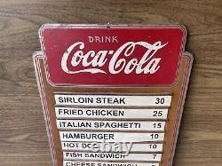 Vintage 1939 Wood Masonite Coca-Cola Menu Board Kay Display