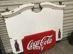 Vintage 1940's COCA-COLA COLONIAL Porcelain Sign with Privilege Panels