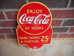 Vintage 1940's Coca Cola 25c Carton Soda Pop 2 Sided 16 Metal Sign
