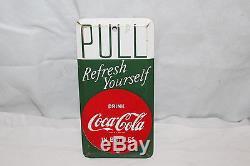Vintage 1940's Coca Cola Soda Pop Metal Door Push Pull Plate Sign