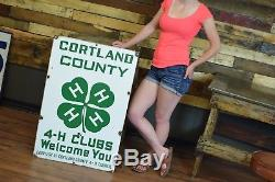 Vintage 1940's Cortland County 4-H Horse Sign Dairy Cow Farming Agricultural BIG